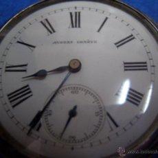 Relojes de bolsillo: RELOJ AUBERT GENEVE TRES TAPAS PLATA Y VIROLAS DE ORO CON LLAVE # W002. Lote 43076040