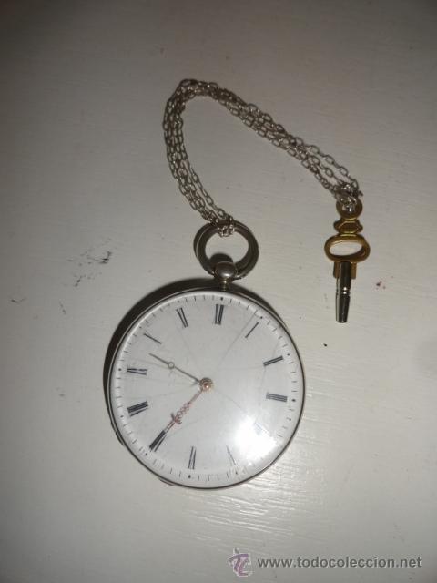 RELOJ BOLSILLO A CUERDA ECHAPPEMENT CYLINDRE 4,5 CM¿PLATA? CADENA PLATA CON LLAVE 1900 (Relojes - Bolsillo Carga Manual)
