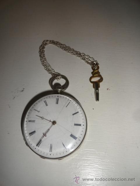 Relojes de bolsillo: RELOJ BOLSILLO A CUERDA Echappement Cylindre 4,5 CM¿PLATA? CADENA PLATA CON LLAVE 1900 - Foto 2 - 43168515