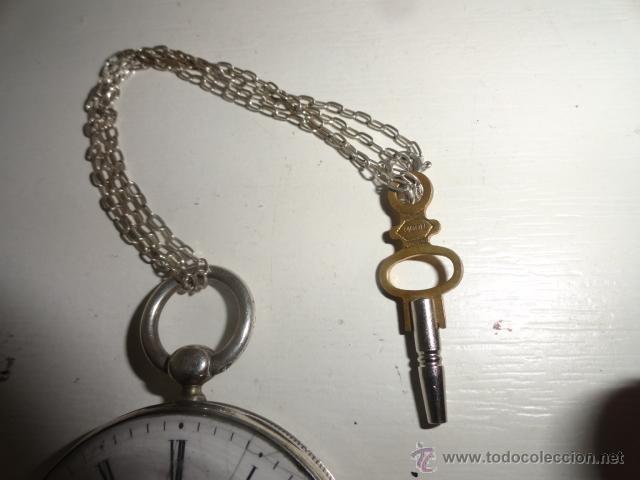 Relojes de bolsillo: RELOJ BOLSILLO A CUERDA Echappement Cylindre 4,5 CM¿PLATA? CADENA PLATA CON LLAVE 1900 - Foto 3 - 43168515