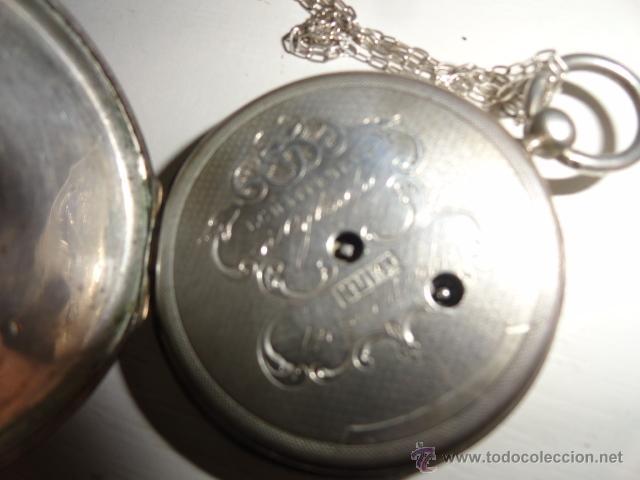 Relojes de bolsillo: RELOJ BOLSILLO A CUERDA Echappement Cylindre 4,5 CM¿PLATA? CADENA PLATA CON LLAVE 1900 - Foto 4 - 43168515