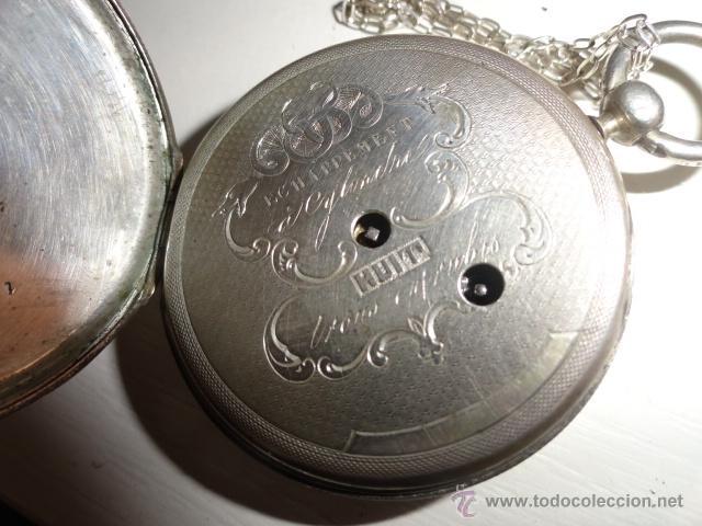 Relojes de bolsillo: RELOJ BOLSILLO A CUERDA Echappement Cylindre 4,5 CM¿PLATA? CADENA PLATA CON LLAVE 1900 - Foto 6 - 43168515