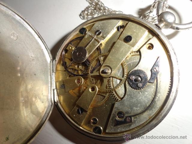 Relojes de bolsillo: RELOJ BOLSILLO A CUERDA Echappement Cylindre 4,5 CM¿PLATA? CADENA PLATA CON LLAVE 1900 - Foto 7 - 43168515