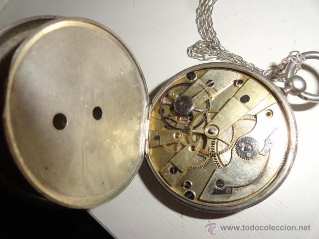 Relojes de bolsillo: RELOJ BOLSILLO A CUERDA Echappement Cylindre 4,5 CM¿PLATA? CADENA PLATA CON LLAVE 1900 - Foto 8 - 43168515