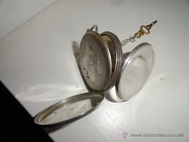 Relojes de bolsillo: RELOJ BOLSILLO A CUERDA Echappement Cylindre 4,5 CM¿PLATA? CADENA PLATA CON LLAVE 1900 - Foto 9 - 43168515