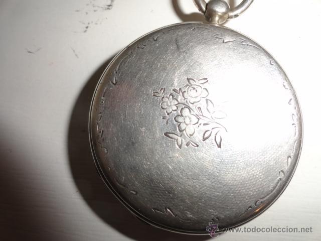 Relojes de bolsillo: RELOJ BOLSILLO A CUERDA Echappement Cylindre 4,5 CM¿PLATA? CADENA PLATA CON LLAVE 1900 - Foto 10 - 43168515