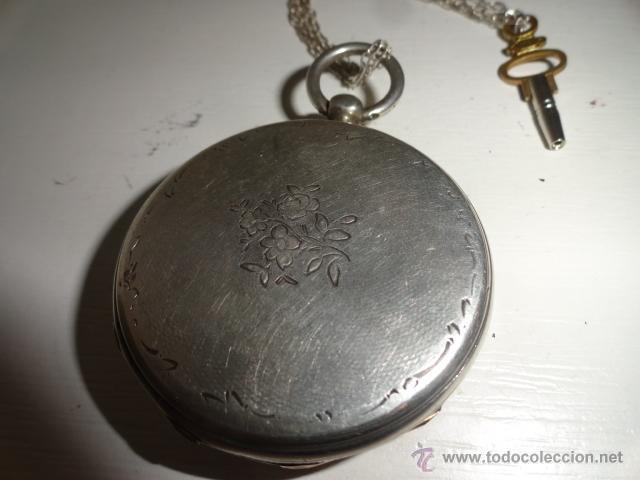 Relojes de bolsillo: RELOJ BOLSILLO A CUERDA Echappement Cylindre 4,5 CM¿PLATA? CADENA PLATA CON LLAVE 1900 - Foto 11 - 43168515