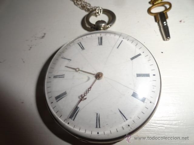 Relojes de bolsillo: RELOJ BOLSILLO A CUERDA Echappement Cylindre 4,5 CM¿PLATA? CADENA PLATA CON LLAVE 1900 - Foto 12 - 43168515
