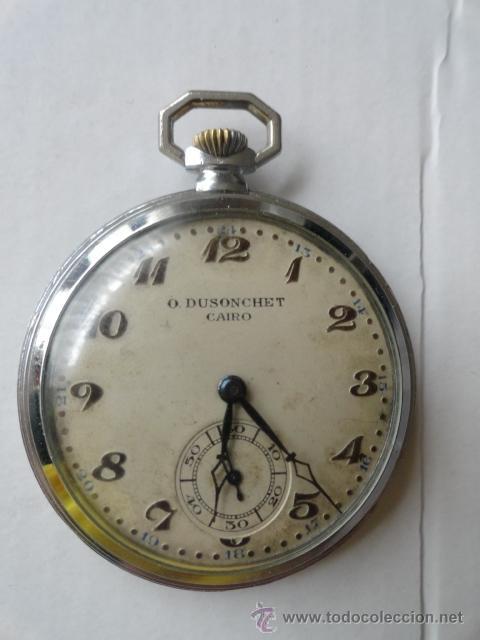 RELOJ BOLSILLO A CUERDA O.DUSONCHET CAIRO DE SUIZA 15 RUBIS FUNCIONANDO (Relojes - Bolsillo Carga Manual)
