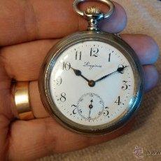 Relojes de bolsillo: ANTIGUO RELOJ DE BOLSILLO Y CABALLERO LONGINES, CIRCA 1901, PUESTA EN HORA POR UÑERO. Lote 43740096