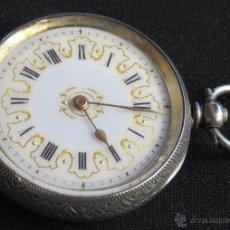 Relojes de bolsillo: PRECIOSO RELOJ BOLSILLO ANTIGUO, CAJA PLATA LABRADA Y SELLADA, CON SU LLAVE. Lote 43782858