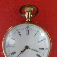 Relojes de bolsillo: ANTIGUO RELOJ DE BOLSILLO DE CILINDRO MARCA REMONTOIR 8 RUBÍES EN ORO 14 KILATES-ORIG FINALES S. XIX. Lote 43829721