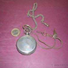Relojes de bolsillo: ANTIGUO RELOJ DE BOLSILLO SEMICATALINO DE PLATA -FLORIDA GENEVE CYLINDRE CON LLAVE , Y CADENA .. Lote 43991145