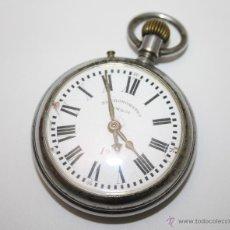 Relojes de bolsillo: RE209 RELOJ EL CRONÓMETRO - METAL CROMADO - ESFERA PORCELANA - FUNCIONA - PRINC. S. XX. Lote 45571430