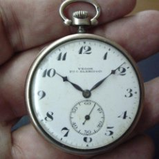 Relojes de bolsillo: RELOJ DE PLATA NIELADA EN ORO - VEGON - FRANCISCO C.BLANCO - ESFERA PORCELANA - BUEN FUNCIONAMIENTO. Lote 45727071