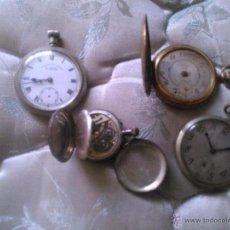 Relojes de bolsillo: LOTE DE 4 RELOJES DE BOLSILLO. SÓLO FUNCIONA UNO. UNO DE PLATA. Lote 46153275