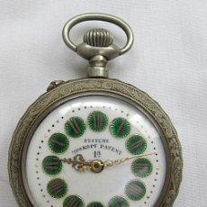 Relojes de bolsillo: RELOJ DE BOLSILLO ANTIGUO ROSKOPF ESFERA VERDE TIGRE GRANDE. Lote 46225156