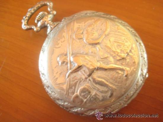 MAGNIFICO RELOJ DE BOLSILLO SUIZO MARCA UNIC CAJA COMPLETA LABRADA CON ESCENA DE PESCADORES, 1915 (Relojes - Bolsillo Carga Manual)