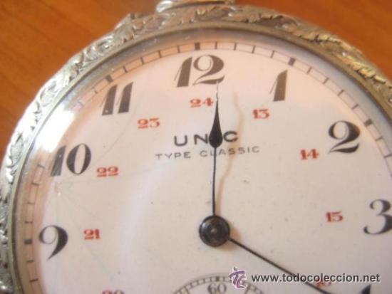 Relojes de bolsillo: MAGNIFICO RELOJ DE BOLSILLO SUIZO MARCA UNIC CAJA COMPLETA LABRADA CON ESCENA DE PESCADORES, 1915 - Foto 5 - 46285995