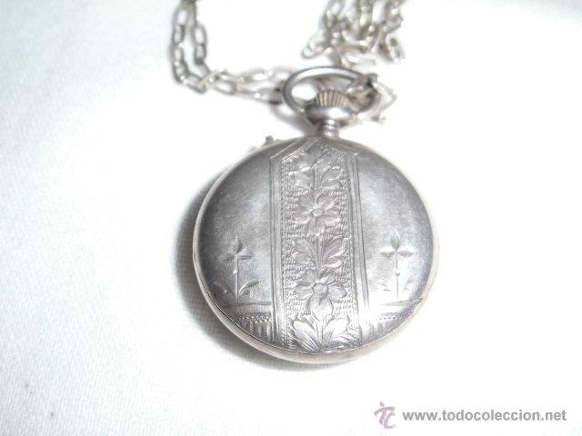 Relojes de bolsillo: ANTIGUO RELOJ DE PLATA DE SEÑORA PARA COLGAR NO FUNCIONA - Foto 3 - 46951071