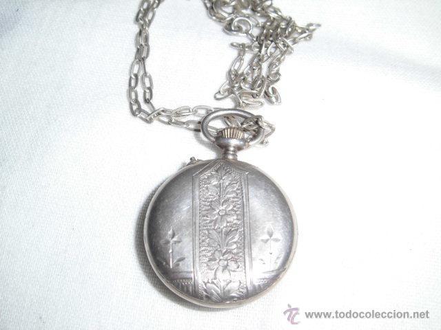 Relojes de bolsillo: ANTIGUO RELOJ DE PLATA DE SEÑORA PARA COLGAR NO FUNCIONA - Foto 4 - 46951071