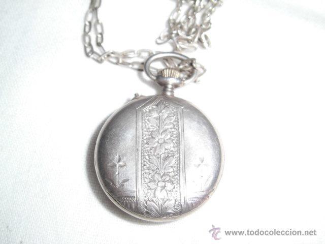 Relojes de bolsillo: ANTIGUO RELOJ DE PLATA DE SEÑORA PARA COLGAR NO FUNCIONA - Foto 5 - 46951071