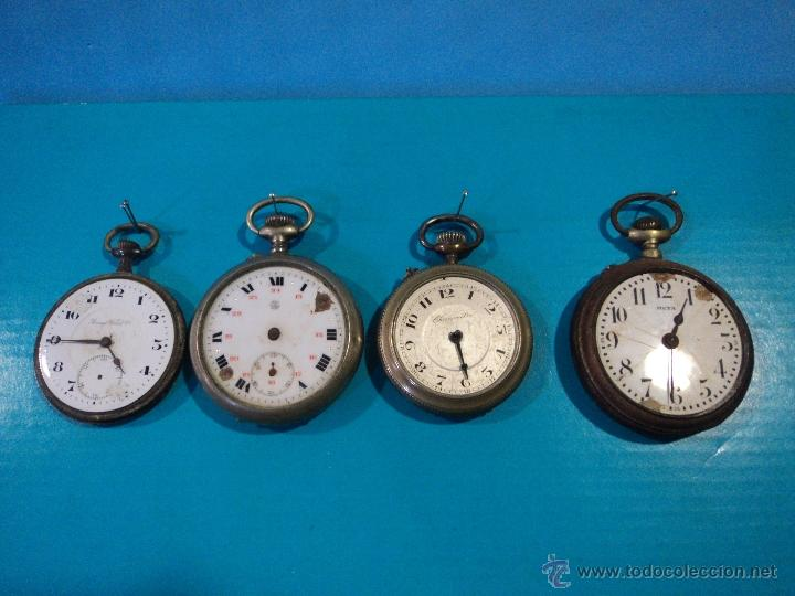 LOTE DE 4 RELOJES DE BOLSILLO-PARA PIEZAS-REPUESTOS O RESTAURAR-LEER DISCRIPCION (Relojes - Bolsillo Carga Manual)