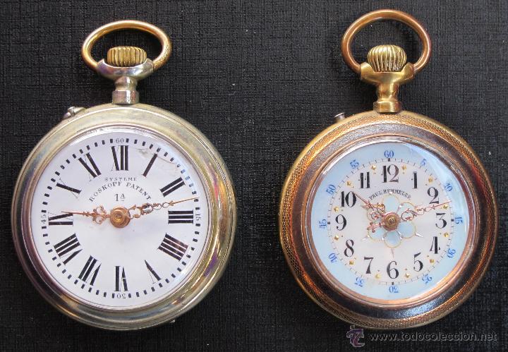DOS PRECIOSOS RELOJES BOLSILLO BUEN ESTADO FUNCIONANDO ROSKOPF Y PAUL HEMMELER (Relojes - Bolsillo Carga Manual)