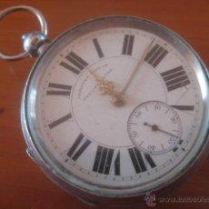 Relojes de bolsillo: GIGANTE RELOJ DE BOLSILLO SEMI-CATALINO CAJA COMPLETO DE PLATA, DATA DE 1860, FUNCIONANDO, 61 MM. Lote 57884265