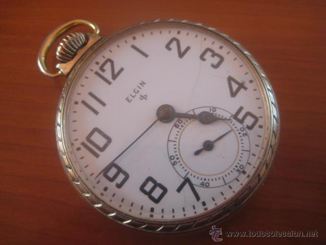 BONITO RELOJ DE BOLSILLO MARCA ELGIN CALIBRE 574 DE 17 JOYAS CHAPADO EN ORO, FUNCIONANDO (Relojes - Bolsillo Carga Manual)