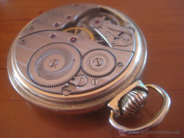 Relojes de bolsillo: BONITO RELOJ DE BOLSILLO MARCA ELGIN CALIBRE 574 DE 17 JOYAS CHAPADO EN ORO, FUNCIONANDO - Foto 2 - 48741342