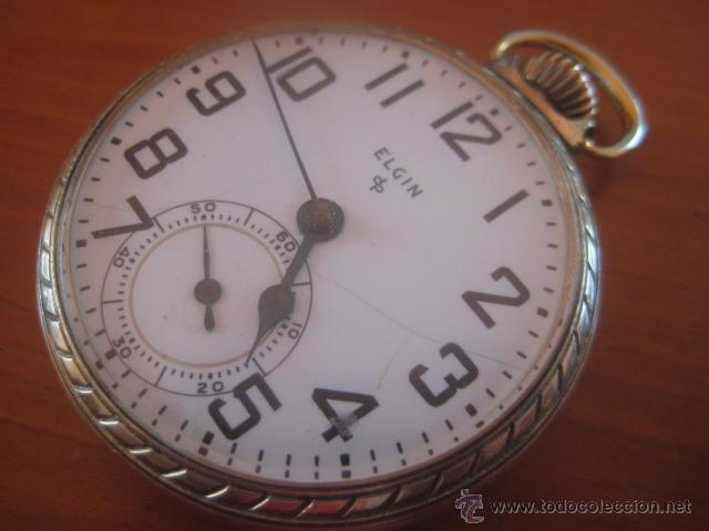 Relojes de bolsillo: BONITO RELOJ DE BOLSILLO MARCA ELGIN CALIBRE 574 DE 17 JOYAS CHAPADO EN ORO, FUNCIONANDO - Foto 3 - 48741342