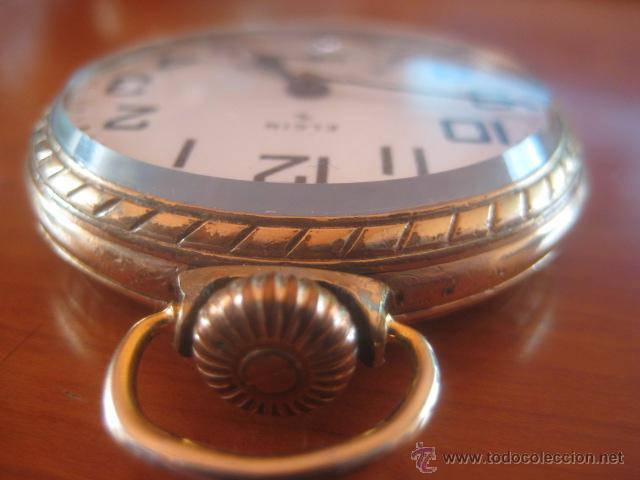 Relojes de bolsillo: BONITO RELOJ DE BOLSILLO MARCA ELGIN CALIBRE 574 DE 17 JOYAS CHAPADO EN ORO, FUNCIONANDO - Foto 5 - 48741342
