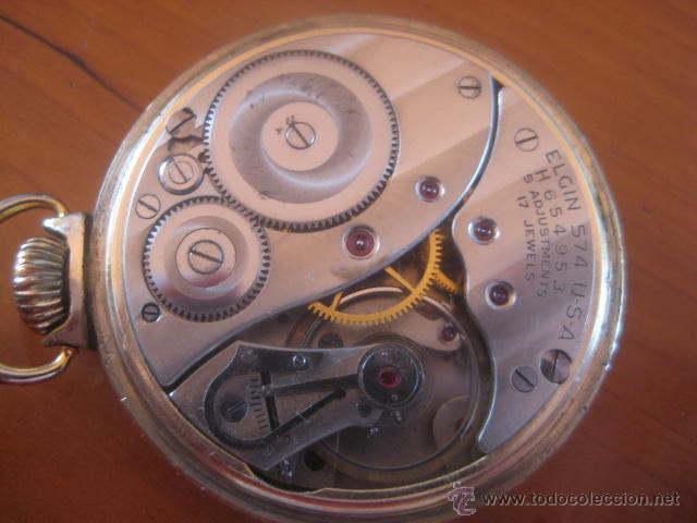 Relojes de bolsillo: BONITO RELOJ DE BOLSILLO MARCA ELGIN CALIBRE 574 DE 17 JOYAS CHAPADO EN ORO, FUNCIONANDO - Foto 6 - 48741342