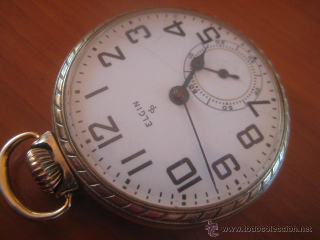 Relojes de bolsillo: BONITO RELOJ DE BOLSILLO MARCA ELGIN CALIBRE 574 DE 17 JOYAS CHAPADO EN ORO, FUNCIONANDO - Foto 7 - 48741342