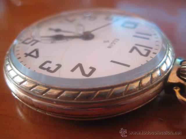 Relojes de bolsillo: BONITO RELOJ DE BOLSILLO MARCA ELGIN CALIBRE 574 DE 17 JOYAS CHAPADO EN ORO, FUNCIONANDO - Foto 8 - 48741342