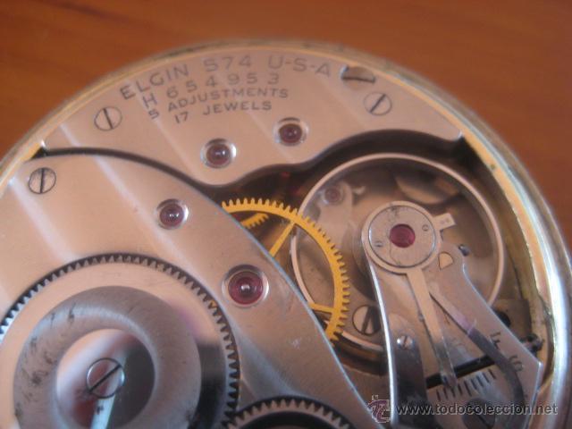 Relojes de bolsillo: BONITO RELOJ DE BOLSILLO MARCA ELGIN CALIBRE 574 DE 17 JOYAS CHAPADO EN ORO, FUNCIONANDO - Foto 9 - 48741342
