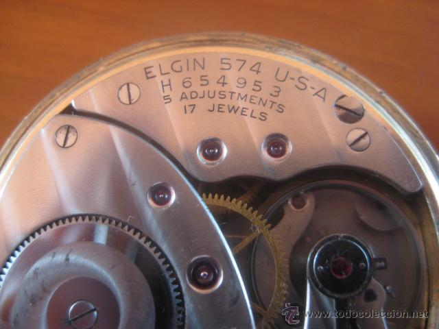 Relojes de bolsillo: BONITO RELOJ DE BOLSILLO MARCA ELGIN CALIBRE 574 DE 17 JOYAS CHAPADO EN ORO, FUNCIONANDO - Foto 13 - 48741342