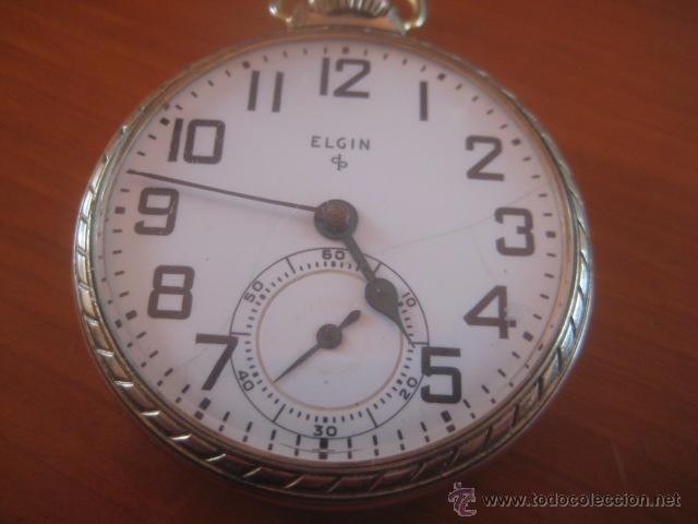 Relojes de bolsillo: BONITO RELOJ DE BOLSILLO MARCA ELGIN CALIBRE 574 DE 17 JOYAS CHAPADO EN ORO, FUNCIONANDO - Foto 15 - 48741342