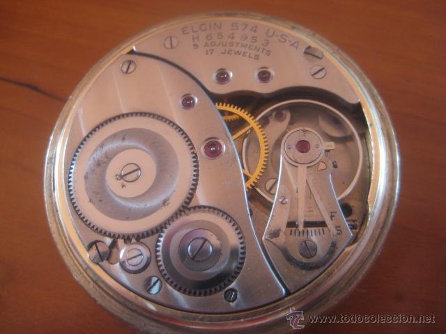 Relojes de bolsillo: BONITO RELOJ DE BOLSILLO MARCA ELGIN CALIBRE 574 DE 17 JOYAS CHAPADO EN ORO, FUNCIONANDO - Foto 17 - 48741342