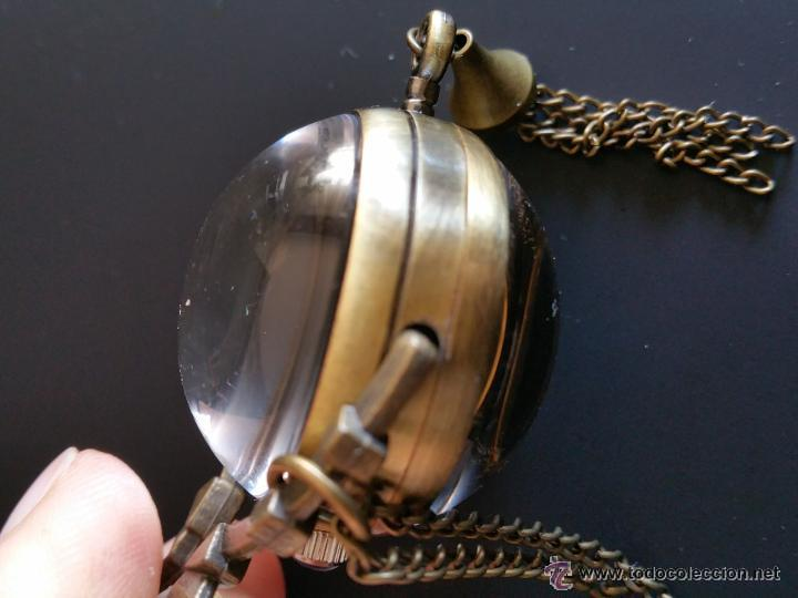 Relojes de bolsillo: CURIOSO RELOJ DE BOLA DE CRISTAL,MAQUINARIA ESQUELETO,FUNCIONANDO - Foto 3 - 49223896