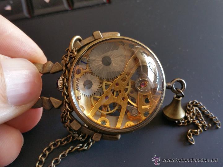 Relojes de bolsillo: CURIOSO RELOJ DE BOLA DE CRISTAL,MAQUINARIA ESQUELETO,FUNCIONANDO - Foto 4 - 49223896