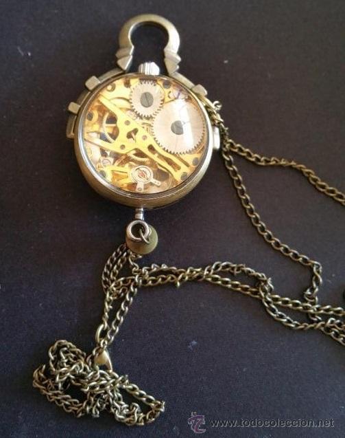 Relojes de bolsillo: CURIOSO RELOJ DE BOLA DE CRISTAL,MAQUINARIA ESQUELETO,FUNCIONANDO - Foto 5 - 49223896