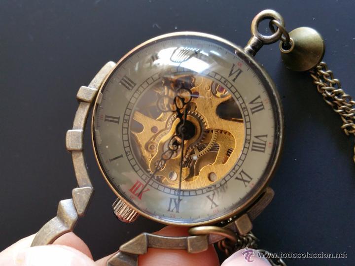 Relojes de bolsillo: CURIOSO RELOJ DE BOLA DE CRISTAL,MAQUINARIA ESQUELETO,FUNCIONANDO - Foto 6 - 49223896