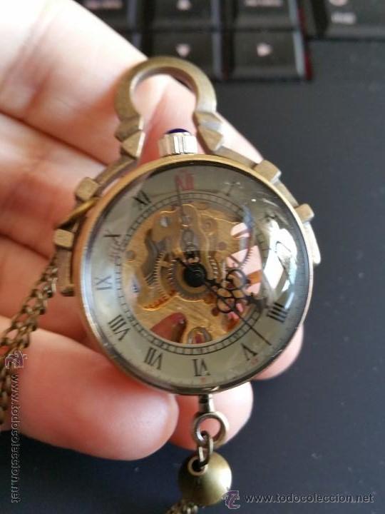 Relojes de bolsillo: CURIOSO RELOJ DE BOLA DE CRISTAL,MAQUINARIA ESQUELETO,FUNCIONANDO - Foto 7 - 49223896
