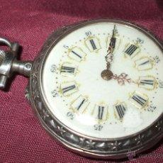 Relojes de bolsillo: RELOJ DE BOLSILLO DE PLATA PEQUEÑO DE 2 TAPAS FUNCIONANDO. Lote 56633071