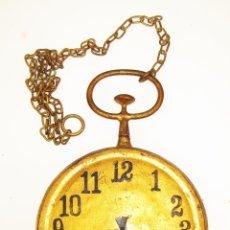 Relojes de bolsillo: UNICO! FANTASTICO GRAN RELOJ ANTIGUO TIPO ESTACION TREN O BOLSILLO EN FORJA PAN DE ORO. Lote 49066818