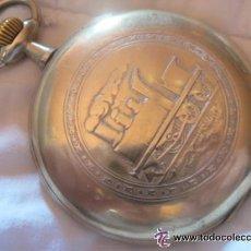 Relojes de bolsillo: UN GIGANTE DE 70 MM, RELOJ DE BOLSILLO SUIZO DE FERROVIARIO COMPLETO LABRADO, FUNCIONA, 1915. Lote 49226504