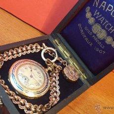 Relojes de bolsillo: BELLO RELOJ DE BOLSILLO EN ORO DE 18K, AÑO 1907, MEDALLA DE ORO, EN BORDEAUX, CON SU CAJA RELOJERA. Lote 49311341