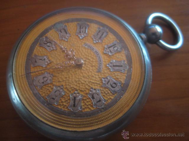 Relojes de bolsillo: PRECIOSO RELOJ SUIZO PAUL HEMMELER DE ESFERA DORADA Y NUMERACION EN PLETINAS, DATA DE 1890, FUNCIONA - Foto 2 - 49434946